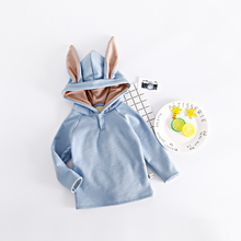 PHB13474 bunny ear design winter baby velvet hoodies