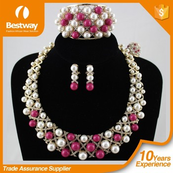 Hot Sell Best Price Fashion African Beads Jewelry Set Crystal Beads Necklace Set Nigerian Wedding EF0066-4