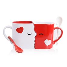 Kissing mugs set two large cups for him and her on valentine's day or anniversary