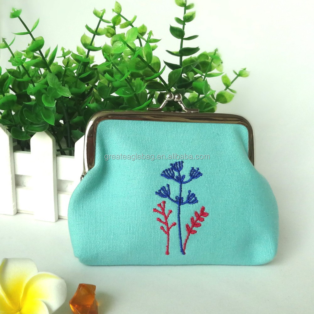 Factory wholesale portable custom cosmetic cotton bag change purse