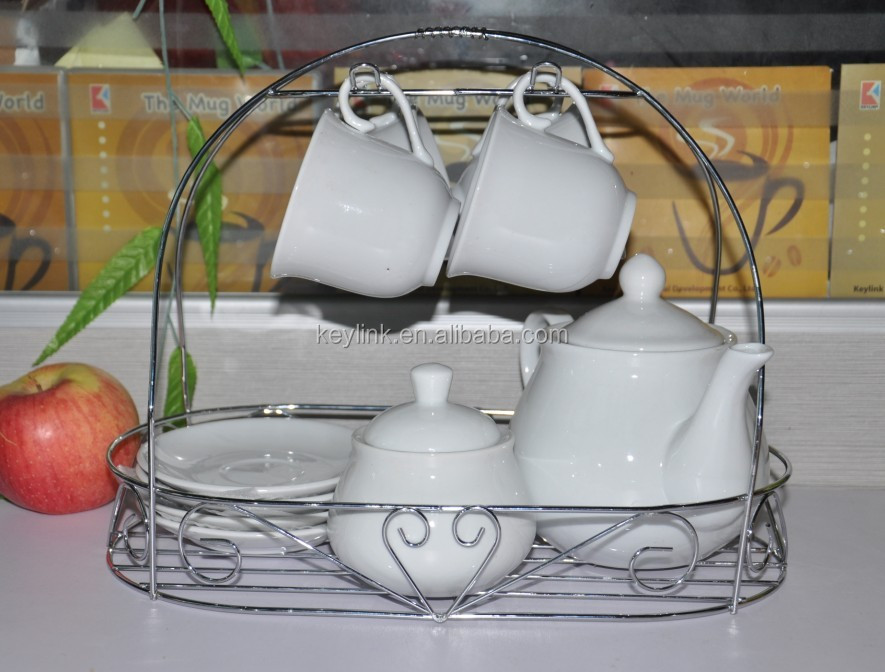 High quality porcelian tea set with rack