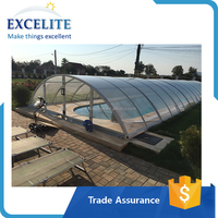 Best Polycarbonate Swimming Pool Roof / Retractable Aluminium Frame Pool Cover