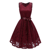 New Pattern Ladies Fashion Clothing Red Crochet Mini Lace Dress