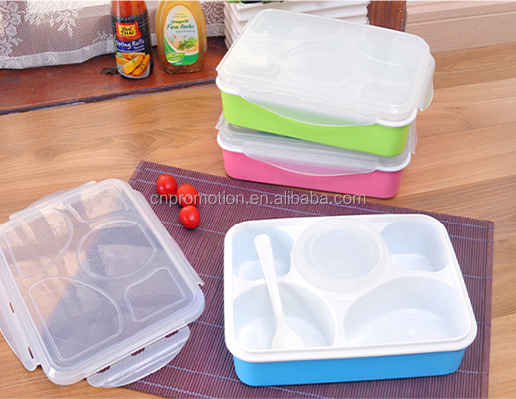 Custom printed bulk kids 5 compartment lunch box with clear lid