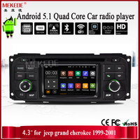 4.3 inch Factory price android 5.1.1 Quad Core CAR DVD player GPS Navigation For jeep grand c h e r o k e e 1999-2001