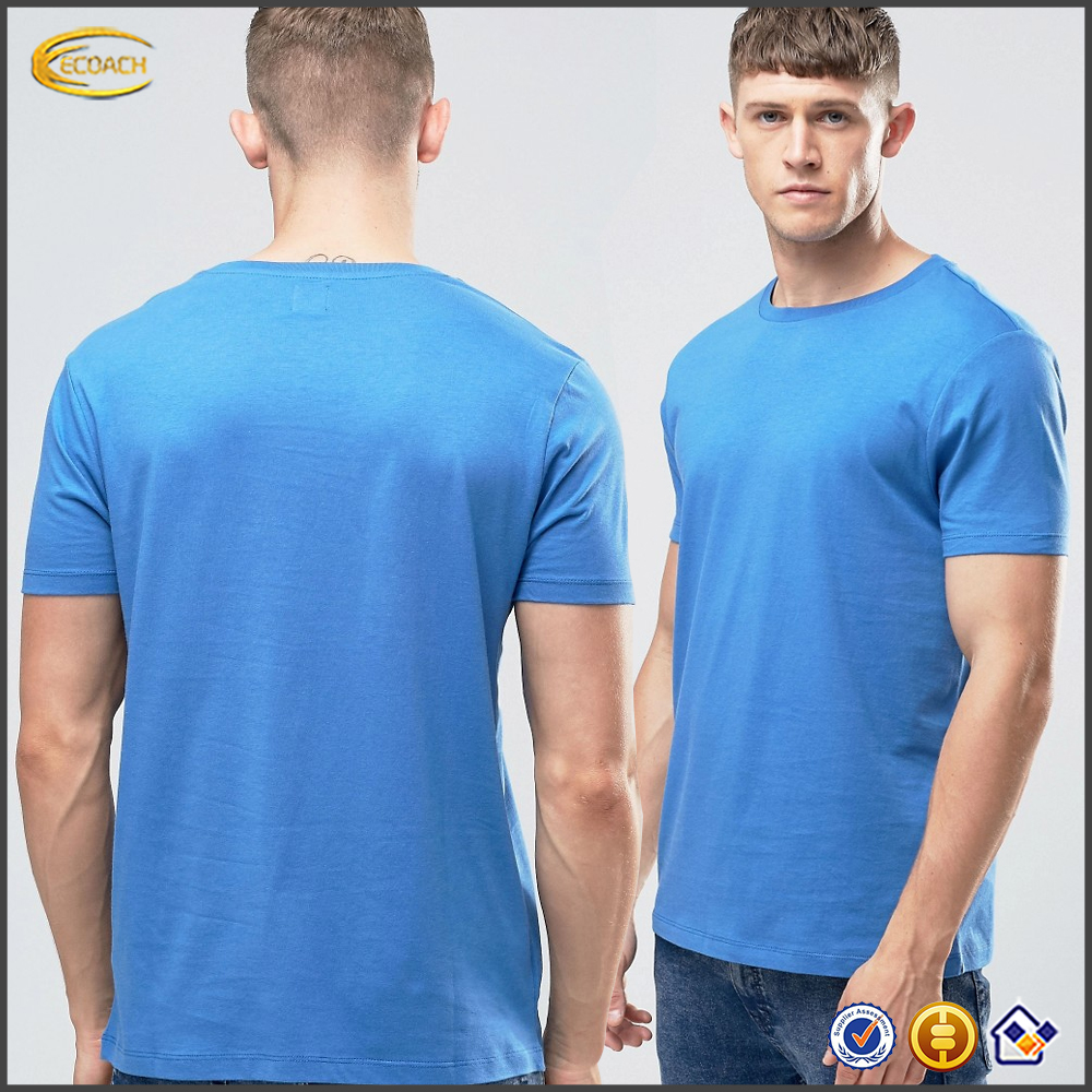Ecoach high quality 100%cotton Soft-touch jersey Embroidered logo Blue color men's Crew neck brand t shirt