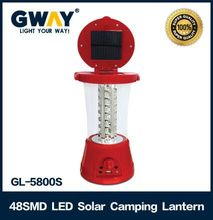 ABS Plastic Led camping lantern with 1.8W solar panel and FM radio,48pcs of 0.5W 5730SMD Power