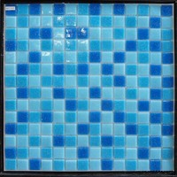 low price blue swimming pool mosaic glass tiles