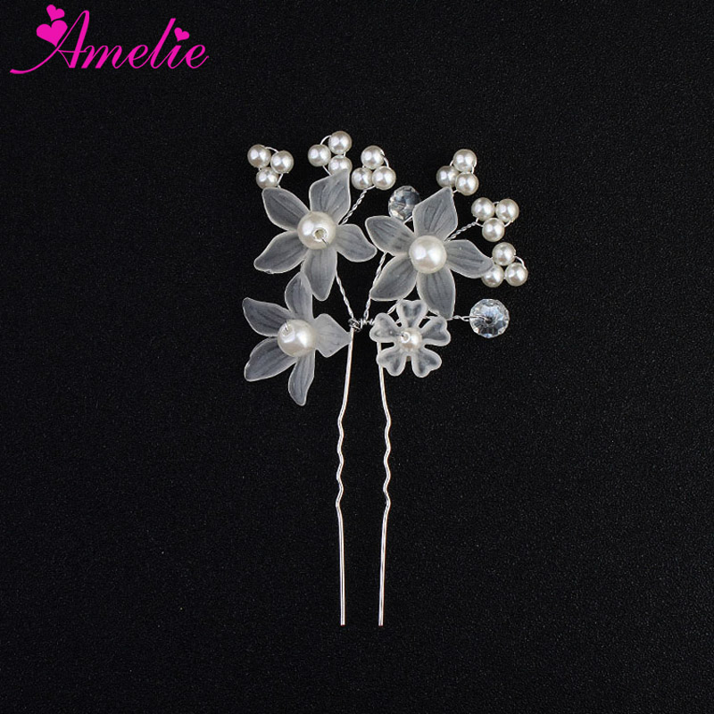 Simple Design Ladies Hair Stick Women Clips Wedding Hair Pins Flower and Pearl Bridal Hairpin Dress Hair Decoration Bobby Pin