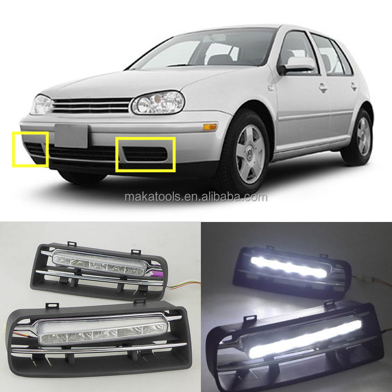 2pcs White+Yellow LED Daytime Running Light DRL for Volkswagen Golf 4 1997-2004