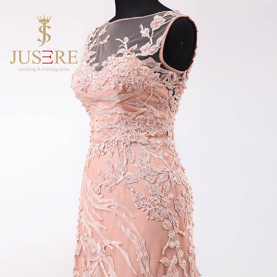 Newest Fashion Lace Appliqued Beaded Pink Tulle Evening Dresses 2016 Boat Sheer Back Mermaid Prom Dresses