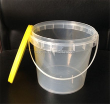 2017 hot sale Printing&Packaging pp clear round plastic bucket with lid and handle