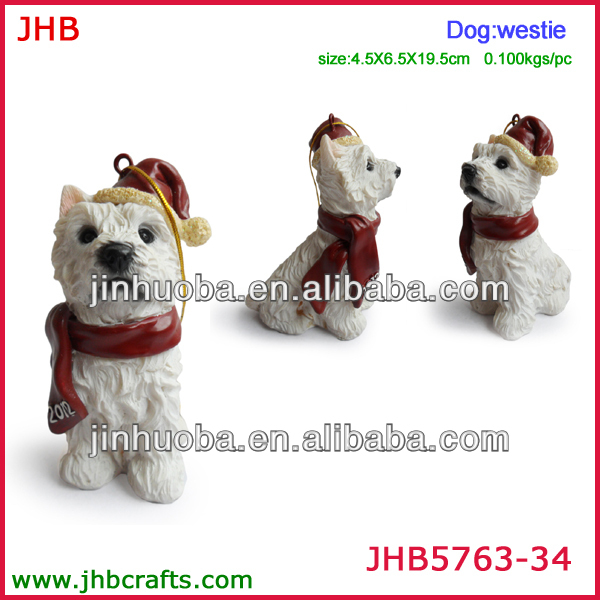 Resin white Westie dog Xmas hanging ornament