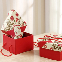 Custom printed paper packaging valentine gift box with handle