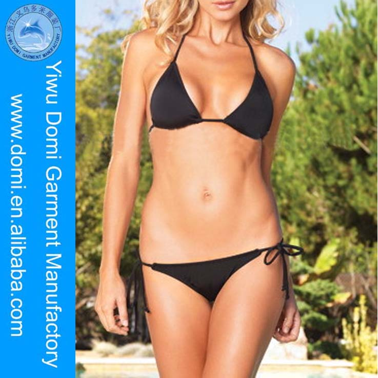 Open hot sexy girl photo three point bandage bikini swimsuit sexy solid color beach swimsuit all full sexy picture