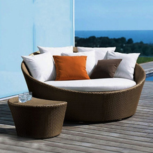 New design resin wicker outdoor round rattan daybed