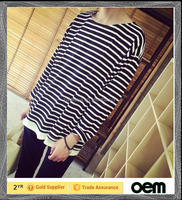 2016 tall extended striped long sleeve men t shirt for adult