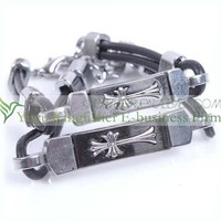 2014 New fashion jewelry titanium steel leather bracelet with Jesus cross!! Quality titanium steel leather bracelet for lovers!!
