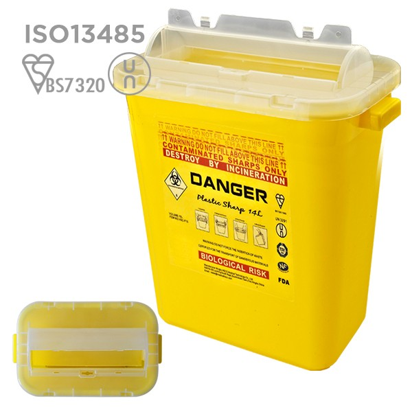 High quality un3291 plastic safety sharps biohazard disposable container square 250m.L small