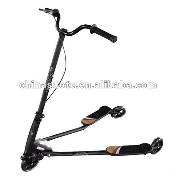 three-wheel frog professional kick scooter, adult swing two rear wheel folding kick scooter