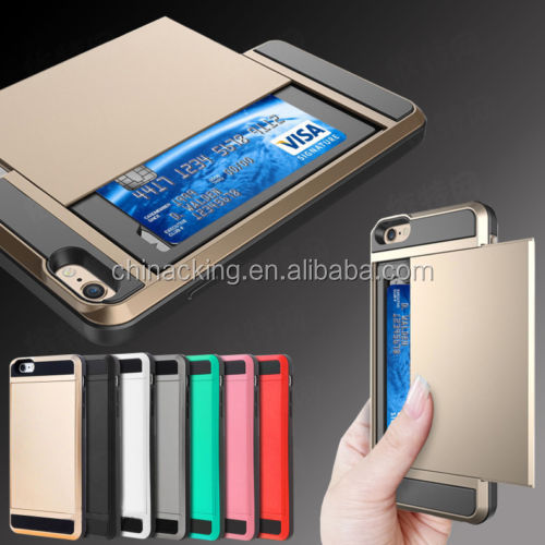 "Armor Slide Credit Card Case Pocket Wallet Pouch Phone Case Back Cover For iPhone 5 5s 6 6s 4.7'' 6Plus 5.5"" 7plus 7"