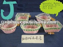 Pink paper rope and pearl woven iron wire shallow plate gift basket