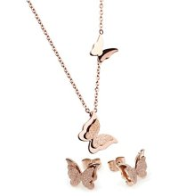 Frosted Stainless Steel Jewelry Sets Rose Gold Butterfly Stud Earrings Pendant Necklace for Women Girl