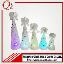 led light glass angel candle holder with good quality
