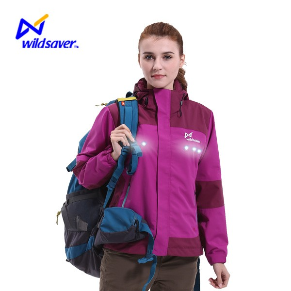 Waterproof windproof nylon led shining reflective ski snow jacket