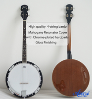 4 string Banjo- Aiersi brand with Remo Skin Mahogany Resonator Cover Model BJ004-24
