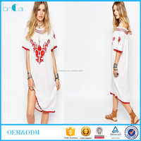 2017 Wholesale new fashion red floral embroidered ladies rayon summer long dress