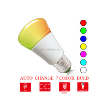 Factory price auto change 7 color E26 LED bulb light for festivals