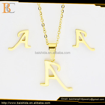 hot sale alphabet letter women fashion jewelry earrings and necklace set