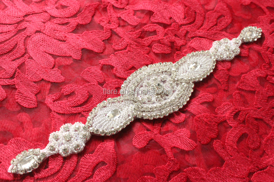 "Crystal Pearl Wedding Bridal Dress Sash Belt Crystal Rhinestone Pearl Applique Silver Beaded Patch DIY Bridal SASH 10.2""Long"