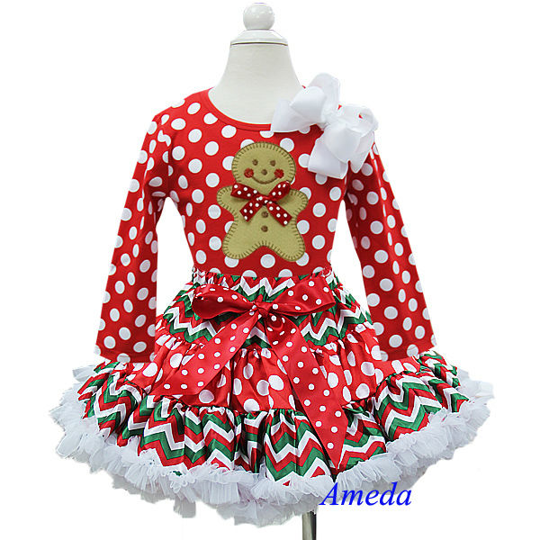 Christmas Red Polka Dots Chevron Pettiskirt Plus Gingerbread Man Long Sleeves Top 1-7Y