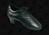 Latin dance shoes for man black leather 442