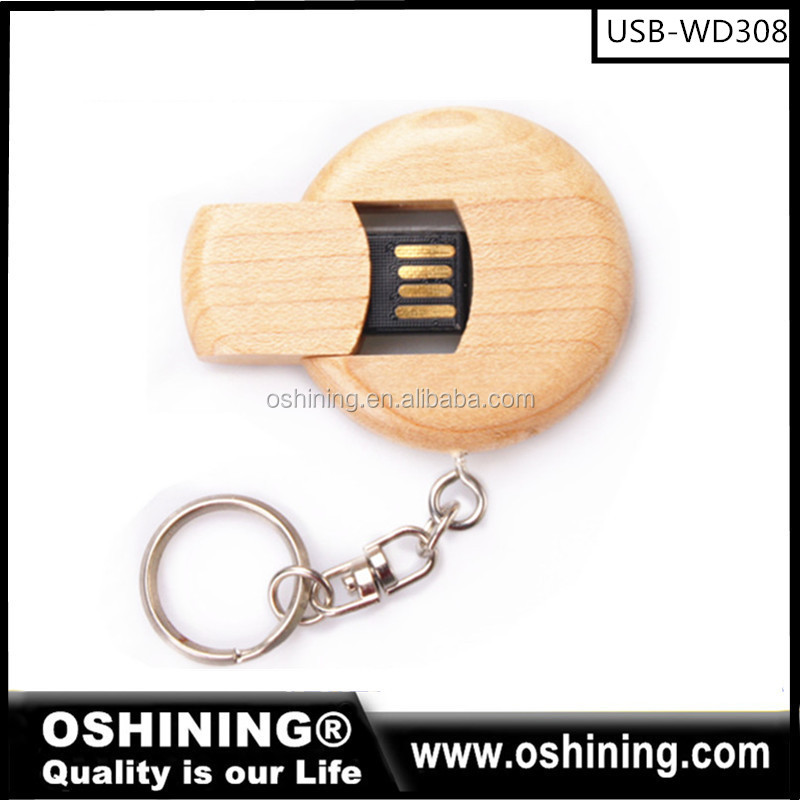 Hot sale push&pull wooden <strong>USB</strong> 2.0 Flash Pen Drive Memory Stick Disk with keychain(OS-WD308)