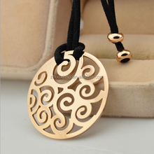 modish stainless steel big round sweater necklace with black rope