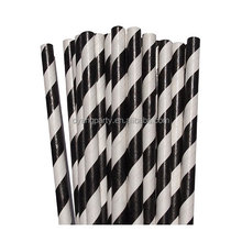 25ct 7.76'' Biodegradable Striped Paper Black and White Straws Wholesale 30004