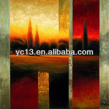 handmade inverted image framed wall art decor oil painting