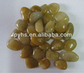 High Polished Yellow silica lightly pebble stone