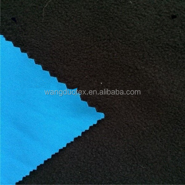4-way poly/spandex pongee bonded microfleece 2 layer