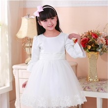 Hot Sale A-line long sleeves Princess medium length Wedding Puffy Flower Girl Dress