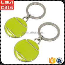 Customized made metal tennis ball keychain