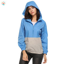 Lightweight waterproof hooded jacket half zip windbreaker custom rain coat for women packable outdoor jacket wholesale