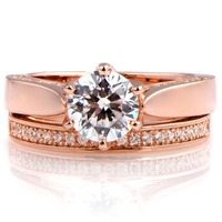 Latest Tops For Girls 14K Rose Gold Plated CZ Wedding Ring Set