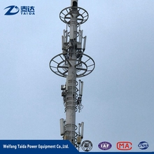 4G Hot dip galvanized steel communication monopole pole with antenna wifi cell modern tower