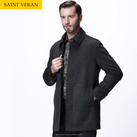 AW16 Latest fashion designs wind long wool winter men coat for business trip