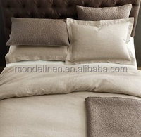 100% high quality pure linen stone washed Oxford style bedding set duvet cover set
