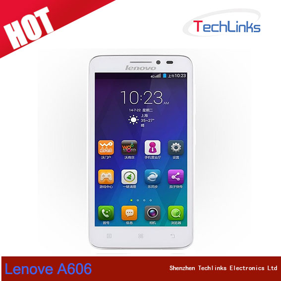 5 Inch Lenovo A606 4G FDD LTE Mobile Phone MTK6582 Quad Core 1.3GHz Android IPS Screen 512MB RAM 4GB ROM GPS